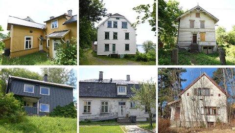 Disse seks husene er bare noen av rundt 20 kommunale bygg som står tomme i bydelene Nordstrand, Østensjø og Søndre Nordstrand.