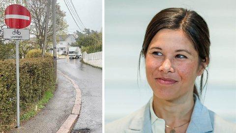 MDG-byråd Lan Marie Berg stiller seg bak enveisskiltingen i Kastellveien.
