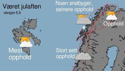 Meteorologene har finjustert varselet for jula de siste dagene. Den siste versjonen er ganske sikker, ifølge vakthavende meteorolog Ida Fosssli ved Vervarslingen for Nord-Norge.
