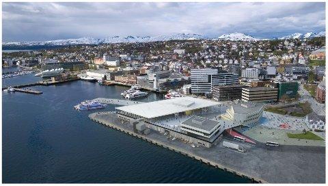 SKAL INN: Trygg vakt, Troms fylkestrafikk og Visit Tromsø er blant dem som skal inn i den nye Havneterminalen. Illustrasjon: Space group company.