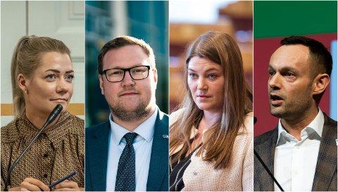 FRA VENSTRE: Sandra Borch (Sp), Erlend Svardal Bøe (Høyre), Cecilie Myrseth (Ap) og Torgeir Knag Fylkesnes (SV).
