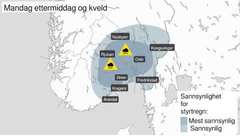 Farevarselet for styrtregn mandag ettermiddag og kveld gjelder for blant annet hele Østlandet.