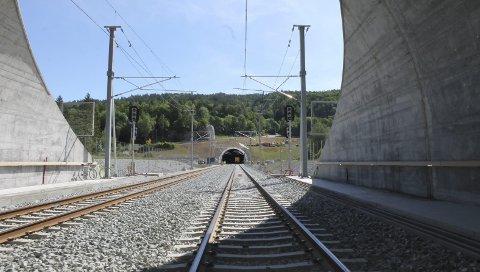 EIDANGERPARSELLEN: Jernbanesporet mot Storberget-tunnelen, mellom Porsgrunn og Larvik.