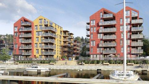 MER AV DET SAMME: Dette er nye tegninger presentert fredag. Bygget til venstre er byggetrinn II med 32 leiligheter, bygget til høyre er byggetrinn 3 som er på planstadiet.