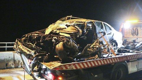 Ulykken på Langangenbrua mandag kveld.