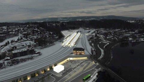 STASJON: Slik kan stasjonsområdet komme til å ta seg ut i fremtiden, med busstopp på elvesiden av området.