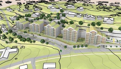 JUSTERT NED: Høyden på boligprosjektet Dronninggård er nedjustert til mellom fire og sju etasjer, men dette er ikke nok, mener politikere i Hole.