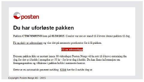 SVINDEL: Denne e-posten er slett ikke fra Posten Norge, selv om den til og med har deres logo.