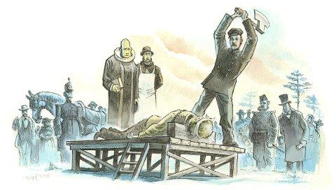 FEBRUAR 1876: Kristoffer Nilsen Svartbækken Grindalen lå på skafottet på Stormyra i Løten. Skarpretter Theodor Larsen sto klar med øksa.    ILLUSTRASJON: egil Nyhus