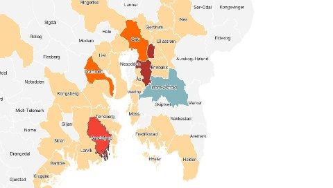 MERKET RØDT: VG melder økende smittetrend i Sandefjord, basert på statistikken fra MSIS. Sandefjord kommune avviser at dette er tilfelle. Skjermdump: vg.no