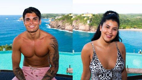 SJEKKER INN: Tobias Therani (22) og Yasmine San Miguel Moussaoui (21) fra Fredrikstad sjekker inn på Paradise Hotel denne våren.