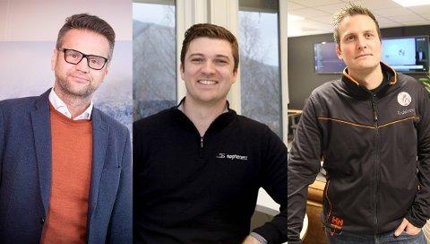 FIBER: Nandor Helgheim, adm. direktør i Enivest, Sebastian Øyrehagen, marknadsleiar i Sognenett og Jan Stian Smedegård, dagleg leiar i Årdalsnett.
