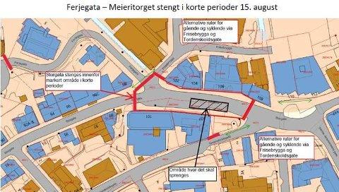 STENGT: Her stenges veien i korte perioder i løpet av hele torsdagen.