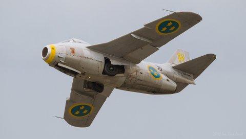 VERDENSREKORD: Saab J 29 satt i sin tid verdensrekord med 977 km/t over en strekning på 500 km. Søndag er den på plass på Notodden. (Jan Erik Arud)