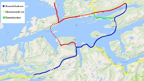 SAMMENLIGNING: De røde linjene er Møreaksen, de blå Romsdalsaksen. Sistnevnte gir kortere fergefri forbindelse mellom Nordmøre og Østlandet gjennom Romsdalen (gul linje).  KART: ROMSDALSAKSEN.NO