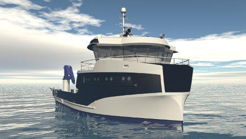 NY KONTRAKT: Sletta verft i Aure skal bygge denne servicebåten på oppdrag fra Frøy akvaressurs AS. Båten er designet av Møre maritime i Kristiansund.