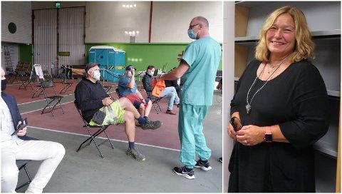 Forhåndsstemmingen i vaksinehallen i Tønsberg har blitt et svært populært tilbud, ifølge valgansvarlig Lise Brit Haugen.
