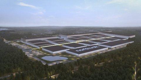 Unik mulighet: Nortvolt er i gang med å bygge en batterifabrikk i Sverige, av samme type som den Morrow Batteries planlegger i Agder. FotoAnimasjon: Northvolt