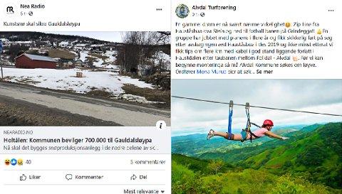 Skjermdump av aprilspøk i Nea Radio og Alvdal Turforening.