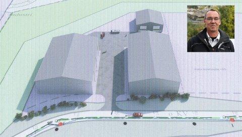 Morten Eikeland vil bygge tre industrihaller på Hestemyr. Illustrasjon: Bygg-hjelpen Mathisen. Innfelt foto: Marianne Stene