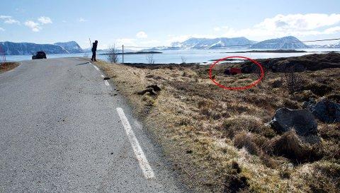 HØY FART: Her endte ferden etter villmannskjøringen ved Torsvåg på Vannøya sist torsdag. Da politiet onsdag i denne uka dro ut for å gjennomføre en fartskontroll la en 29-åring fra øya ut melding på Facebook for å varsle sambygdingene om kontrollen.