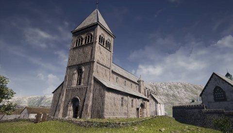 Mest sannsynleg såg Kristkirken på Holmen akkurat slik ut.  Kyrkja fekk stå i over 400 år til den blei gjort om til ruinhaug i 1536.