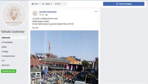 Valhalla Gastropub beklager denne invitasjonen på sin Facebook-side hvor de forsøkte å tjene penger på en annens arrangement.