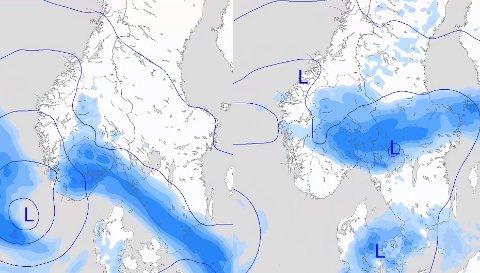 USTABILT VÆR: Ifølge meteorologen er det mer ustabilt vær i vente utover uken. Fra og med fredag (t.v.) vil det komme nedbør, og det vil fortsette lørdag (t.h) og søndag.