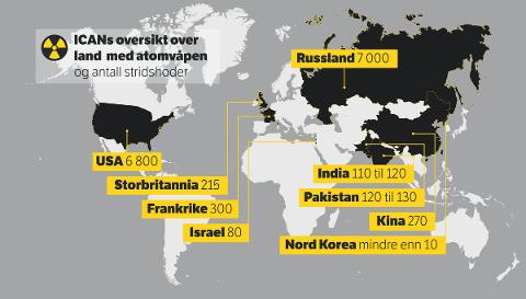ATOMVÅPEN: Norsk Folkehjelp Sunnfjord vil at alle menneske skal få leve i ei verd fri for atomvåpen. Bildet viser oversikt over land som offisielt har atomvåpen pr i dag.