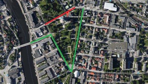 OMKJØRING: Slik omdirigeres trafikken mens asfaltarbeidene pågår.