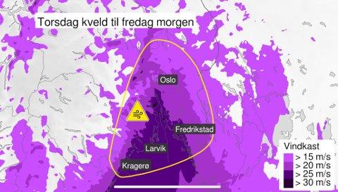 GULT: Fra og med torsdag er det gult farevarsel for hele Østlandet. Foto: Skjermdump/Yr.no
