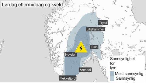 FAREVARSEL: Her er områdene med størst fare for lyn og torden.