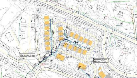 TEGNING: Tegning over tomtefeltet i Trulserudvegen i forbindelse med VA-anlegg og veger på feltet. Mohagevegen øverst på kartet, med avkjøring Mohagavegen til høyre.