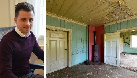 VISNING: Sindre Backe forteller om stor interesse for boligen i Gran, til tross for den dårlige tilstanden til huset.