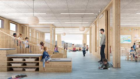 Dette er en perspektivtegning på et tenkt trinnareal. En base skal romme arealer tilsvarende fire klasserom, et fellesområde, toaletter og garderober for totalt 100-110 elever per etasje.