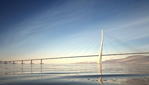 BUEFORMET: En over fem kilometer lang flytebro skal krysse Bjørnafjorden. Her er prosjektgruppen OONs forslag.