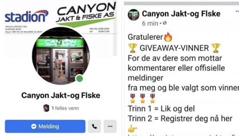 Canyon Jakt & Fiske i Alta er offer for svindel på sosiale medier