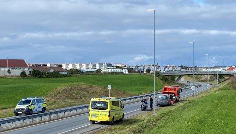 Fredag var det to trafikkulykker i Klepp kommune. Her fra den første ulykken på Kleppe.