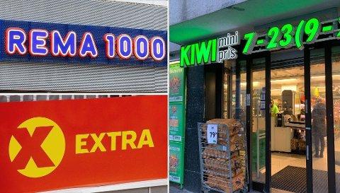 STORE:Rema 1000, Extra, eid av Coop samt Kiwi, eid av Norgesgruppen, er store aktører i dagligvaremarkedet.