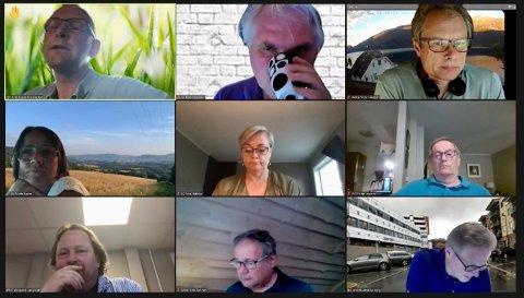Ga meter'n: Sps Knut Espen Riis Skustad (øverst sil venstre) støttet forslaget om 12 meter som maks høyde på nytt bygg i Sylling i det digitale møtet i utvalget for miljø og plan.