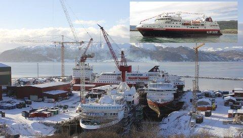 Tre hurtigruter: «Spitsbergen» og «Polarlys» i dokk mens «Kong Harald» bak. På denne tiden var det over 1000 personer i virksomhet på Fosen. «Spitsbergen» ferdig og klar til tjeneste oppe th.Foto: Fosen Yard ved Elias Solli og Johan Engvik (lille bilde)