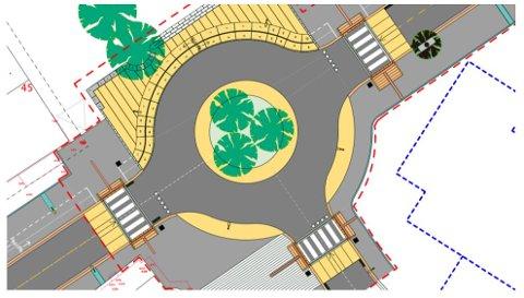 Slik blir den nye Alf Lie-rundkjøringa i Leknes sentrum, med et areal i midten der større kjøretøyer kan kjøre over deler av det. Den ytre diameteren blir litt i overkant av 25 meter. Den innerste sirkelen er krympet noe i forhold til den opprinnelige tegninga.