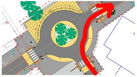Det blir kun mulig å kjøre slik den røde pila viser. NB: pil tegnet inn av Lofotposten som en illustrasjon.