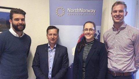 Nord-Norges EU-kontor i Brussel: Fra venstre Ørjan Nermark, Trond Haukanes, Tonje Nermark og Torjus Kleiven Kandal.Foto: Karin P. Skarby