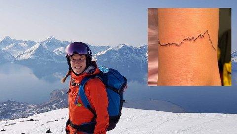 Det blir toppturer så ofte det lar seg kombinere med jobb, sier Ballstad-jenta Renate Berglund Solhaug (33) i Tromsø. Innfelt: Fjellet Skottinden, som Solhaug har fått tatovert på armen.