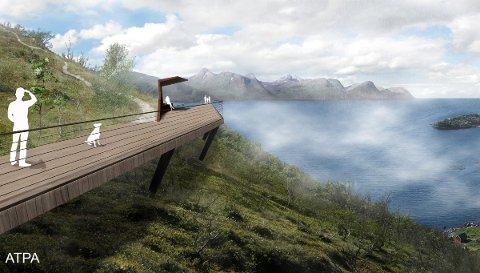 UTSIKT: Utkikkspunktet ytterst på vandringen kan bli en utfordring for folk med langt framskreden høydeskrekk.