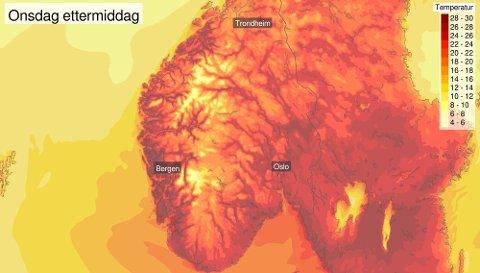 Slik ser Meteorologisk institutts varsler for ettermiddagens i dag ut.