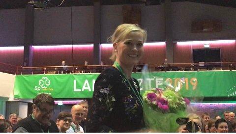 LANDSMØTE-JUBEL: Gjøviks Kjersti Bjørnstad ble valgt inn i Sp-ledelsen på landsmøtet på Hamar. - Jeg er ute etter makt, makt til å gjennomføre politikk, sier hun.