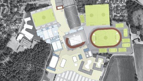 Fremtidens Park: På skissen Ishallen (nede, venstre for midten) og Ski stadion (oppe, venstre for midten) der det gjør i dag.Illustrasjon: Basisplusarkitekter
