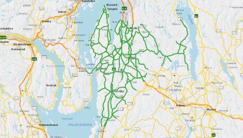 Her er kart over veiene i Follo som inngår i kontrakten. Illustrasjon: Statens vegvesen
